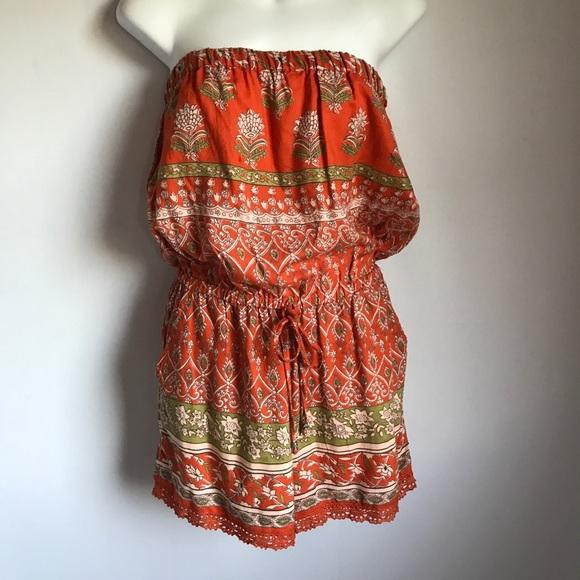 5a287bb11d62 NWT Angie Orange Boho Floral Sleeveless Romper L